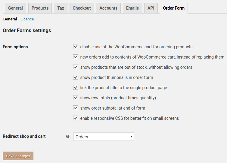 settings to redirect shop and cart