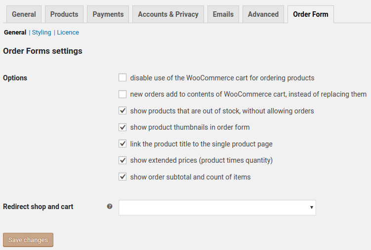 Order Form for WooCommerce general settings